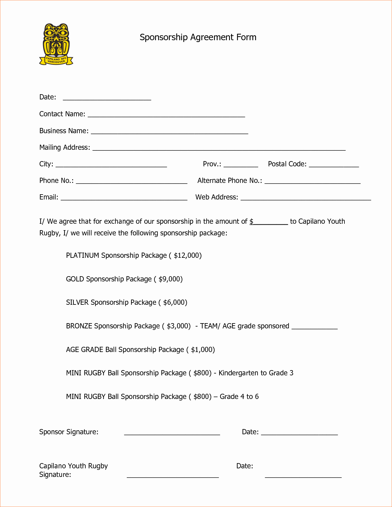 Sponsor Form Template – Cgcprojects – Resume Throughout Athlete Sponsorship Agreement Template