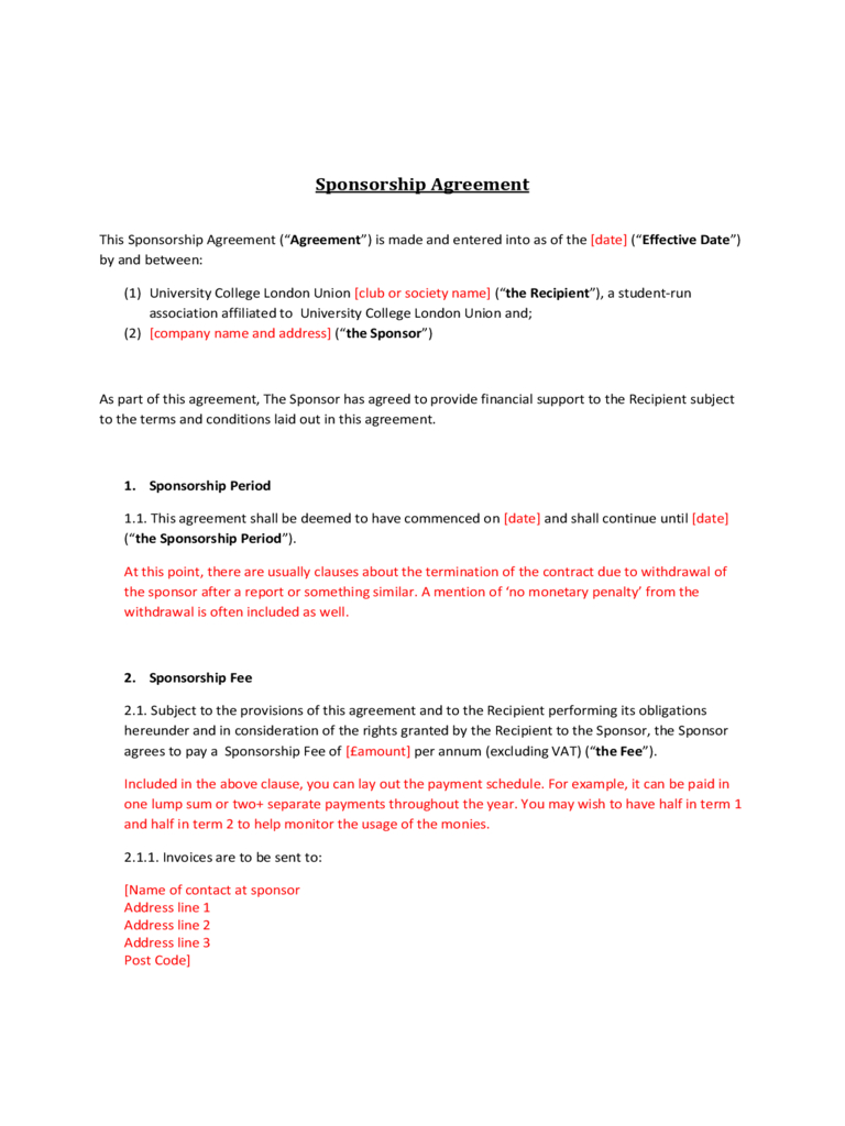Sponsorship Agreement Free Download Inside Club Sponsorship Agreement Template