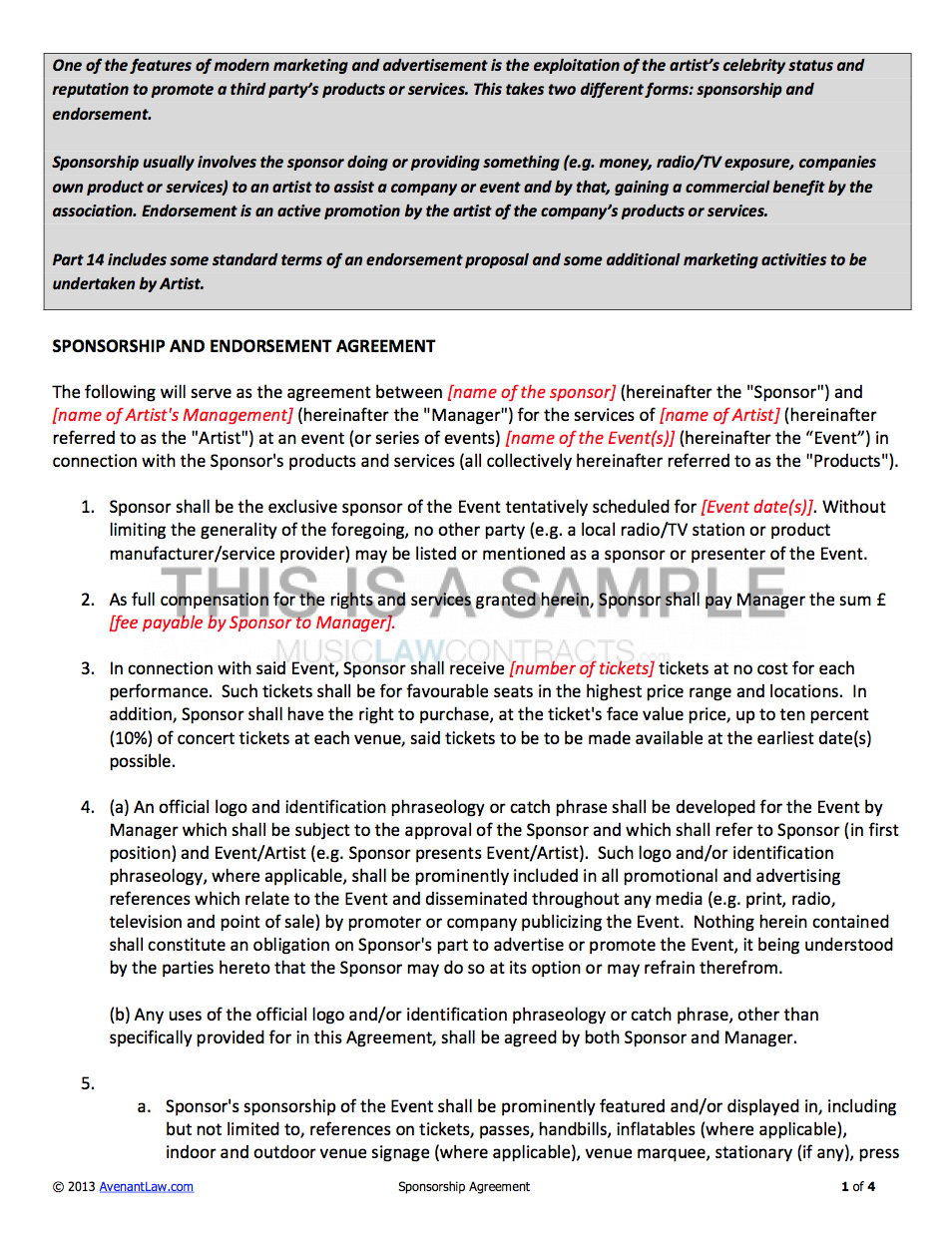 Sponsorship Contract Template For Artists With Product Sponsorship Agreement Template