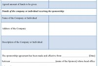 Sponsorship Contract Template regarding Club Sponsorship Agreement Template