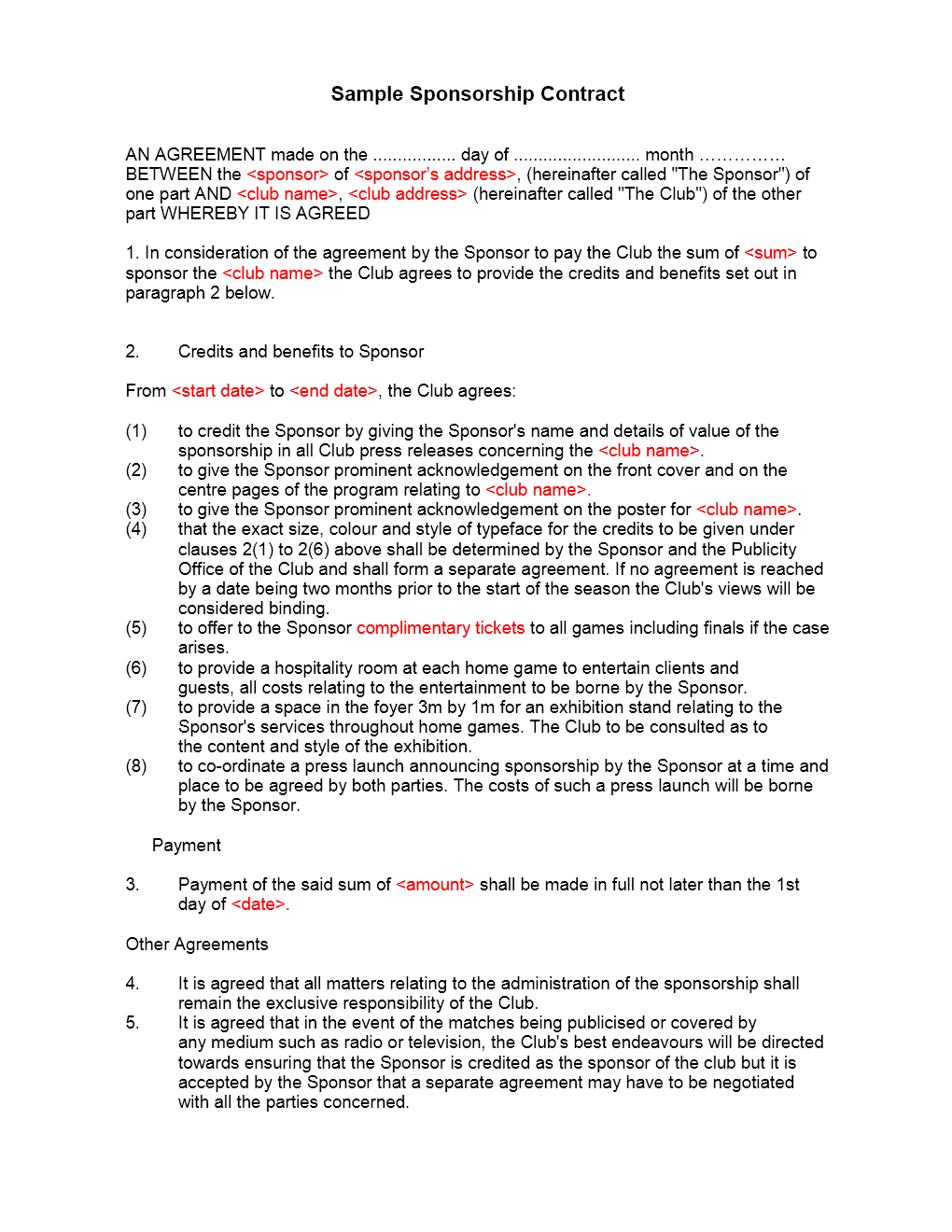 Sponsorship Contract Template Throughout Club Sponsorship Agreement Template