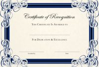 Sports Cetificate  Certificate Of Recognition A Thumbnail within Template For Recognition Certificate