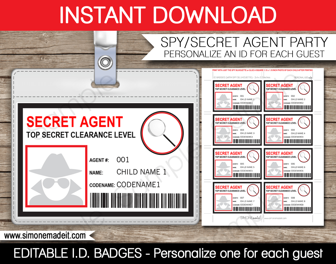 Spy Or Secret Agent Badge Template – Red  Girl Scouts  Spy Within Spy Id Card Template