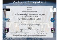 Ssep Mission  To Iss Student Certificates Of Accomplishment  Ssep inside Conference Participation Certificate Template