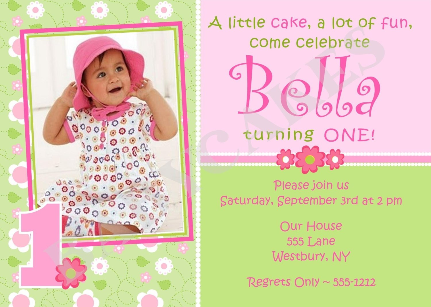 St Birthday Invitations Girl Free Template  Girl St Birthday For First Birthday Invitation Card Template