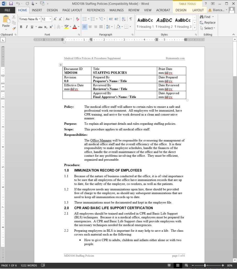 Staffing Policies Procedure Within Policies And Procedures Template For Small Business