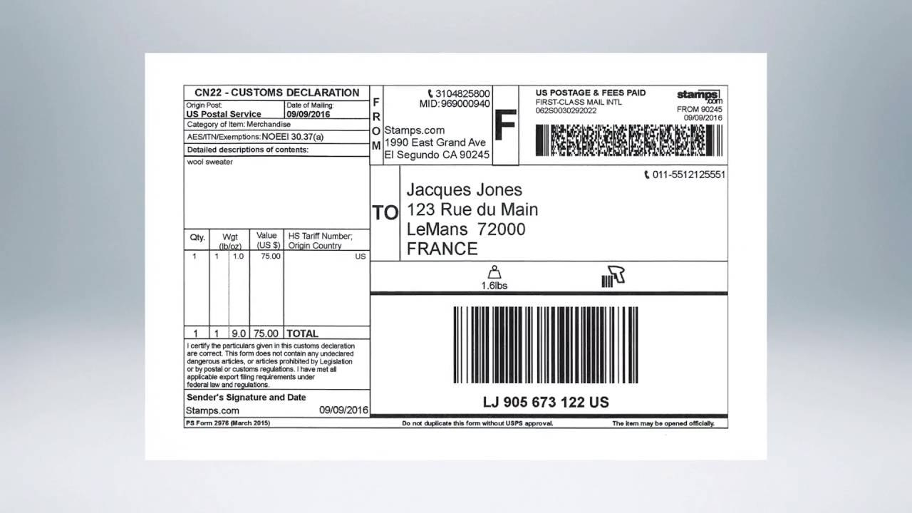 Stamps Online  How To Ship An International Package  Youtube With International Shipping Label Template