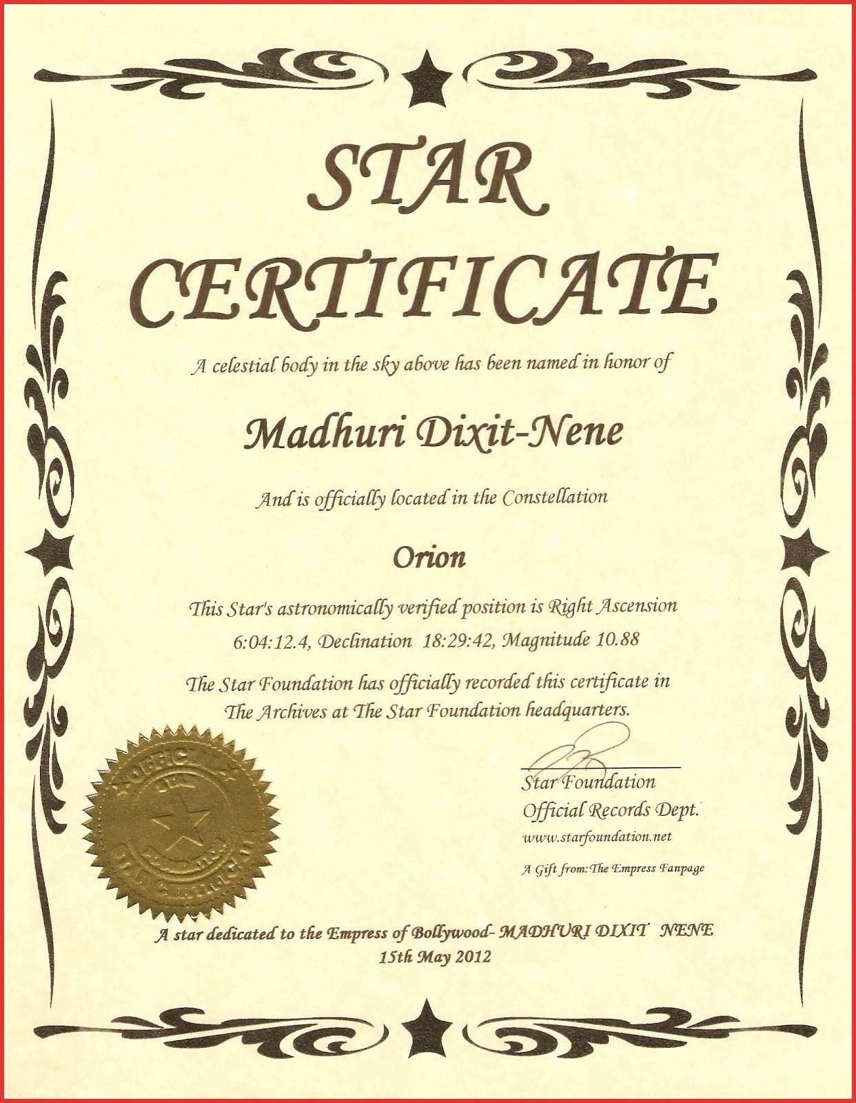 Star Naming Certificate Template  Bizoptimizer For Star Naming Certificate Template