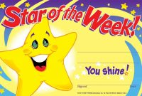 Star Of The Week Certificates Recognition Teacher Award Pad pertaining to Star Of The Week Certificate Template