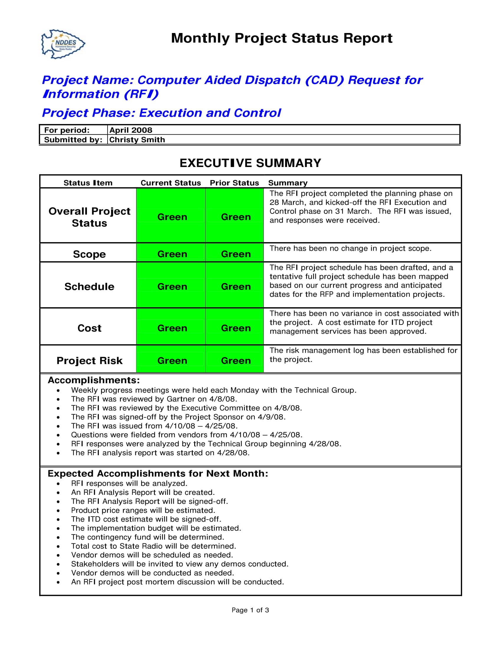 Status Report Examples  Doc Pdf  Examples Intended For Project Monthly Status Report Template