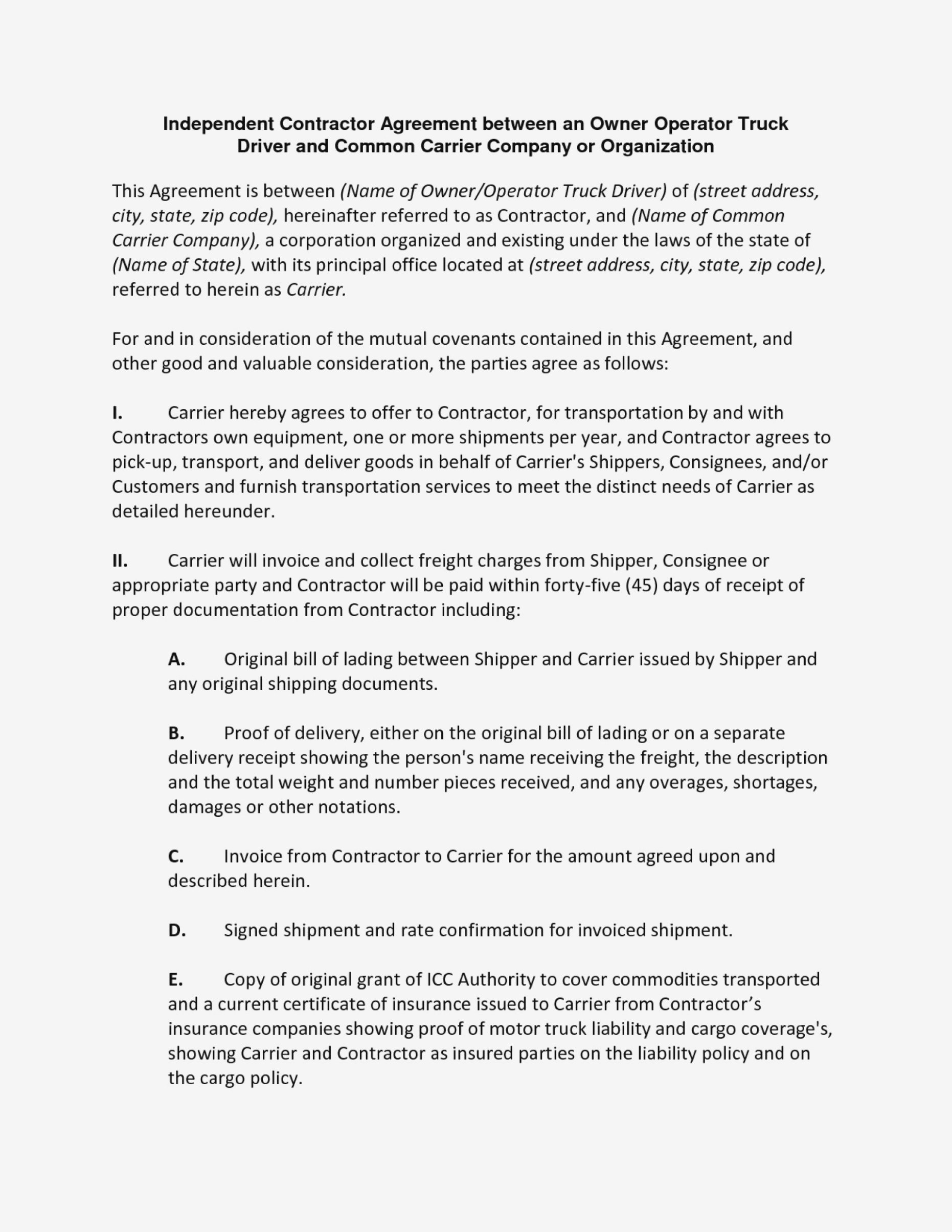 Stirring Owner Operator Lease Agreement Template Contract With In Owner Operator Lease Agreement Template