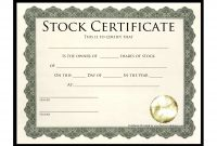 Stock Certificate Template  Best Template Collection  Stock inside Template For Share Certificate