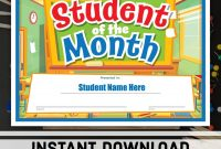 Student Of The Month Certificate Instant Download  Etsy pertaining to Free Printable Student Of The Month Certificate Templates