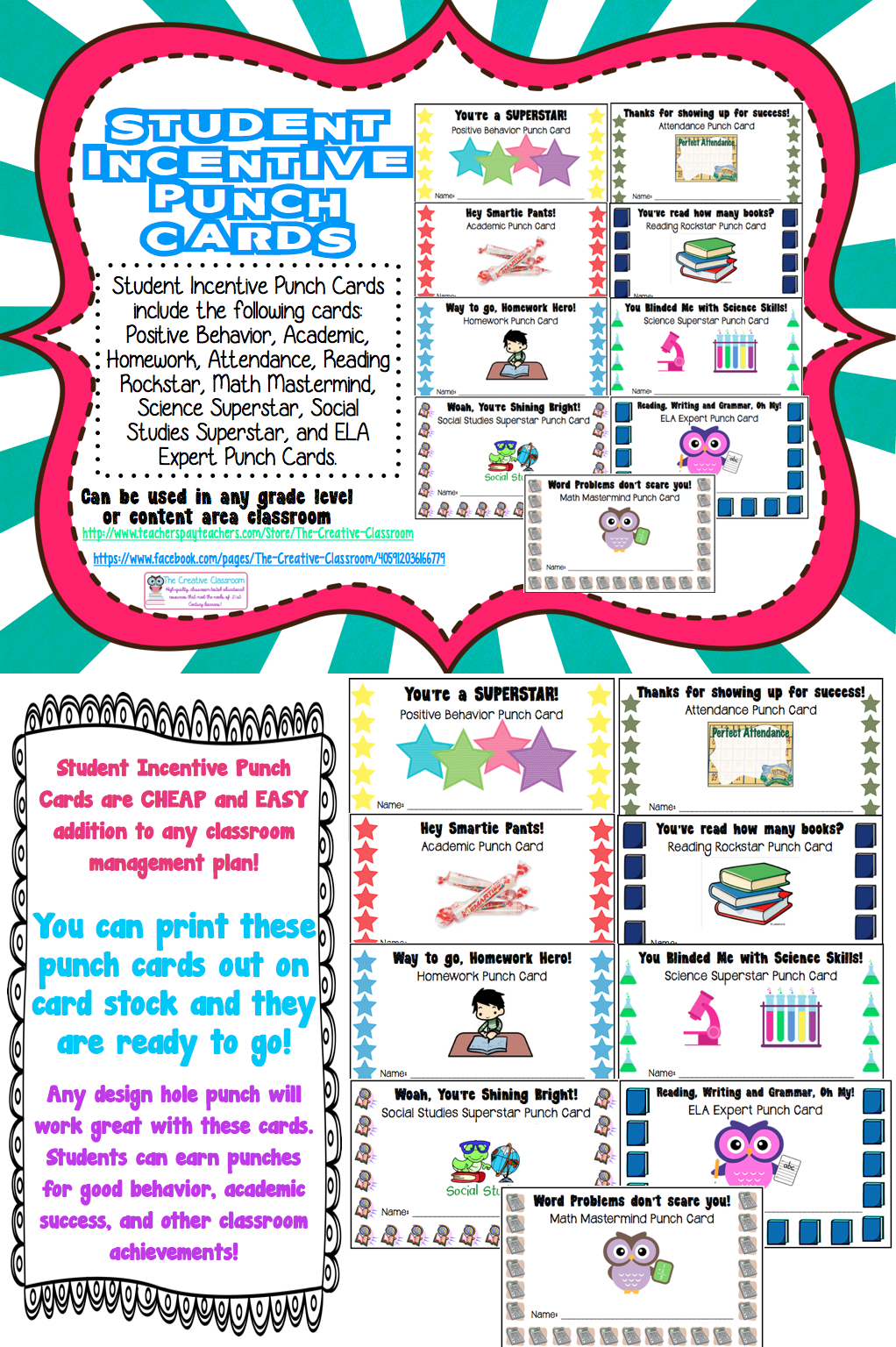 Student Rewards Punch Cards  Back To School Ideas  Resources Regarding Reward Punch Card Template