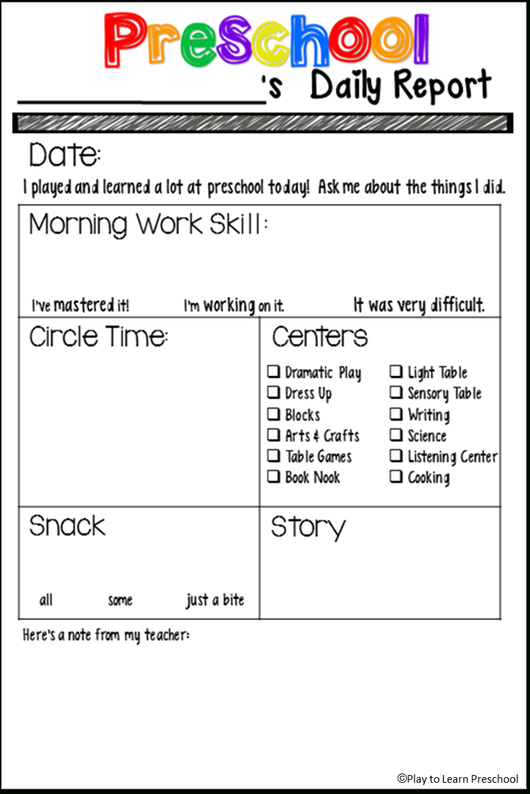 Students' Stuff  Preschool Fun  Preschool Daily Report Preschool Inside Preschool Weekly Report Template
