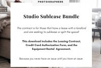 Studio Photography Contract intended for Camera Equipment Rental Agreement Template