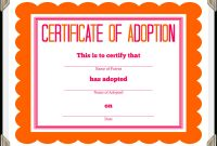 Stuffed Animal Adoption Certificate pertaining to Pet Adoption Certificate Template