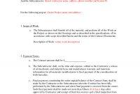 Subcontractor Agreement Formsbeunaventuralongjas  Subcontractor intended for Construction Business Plan Template Free