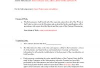 Subcontractor Agreement Formsbeunaventuralongjas  Subcontractor intended for Small Business Subcontracting Plan Template