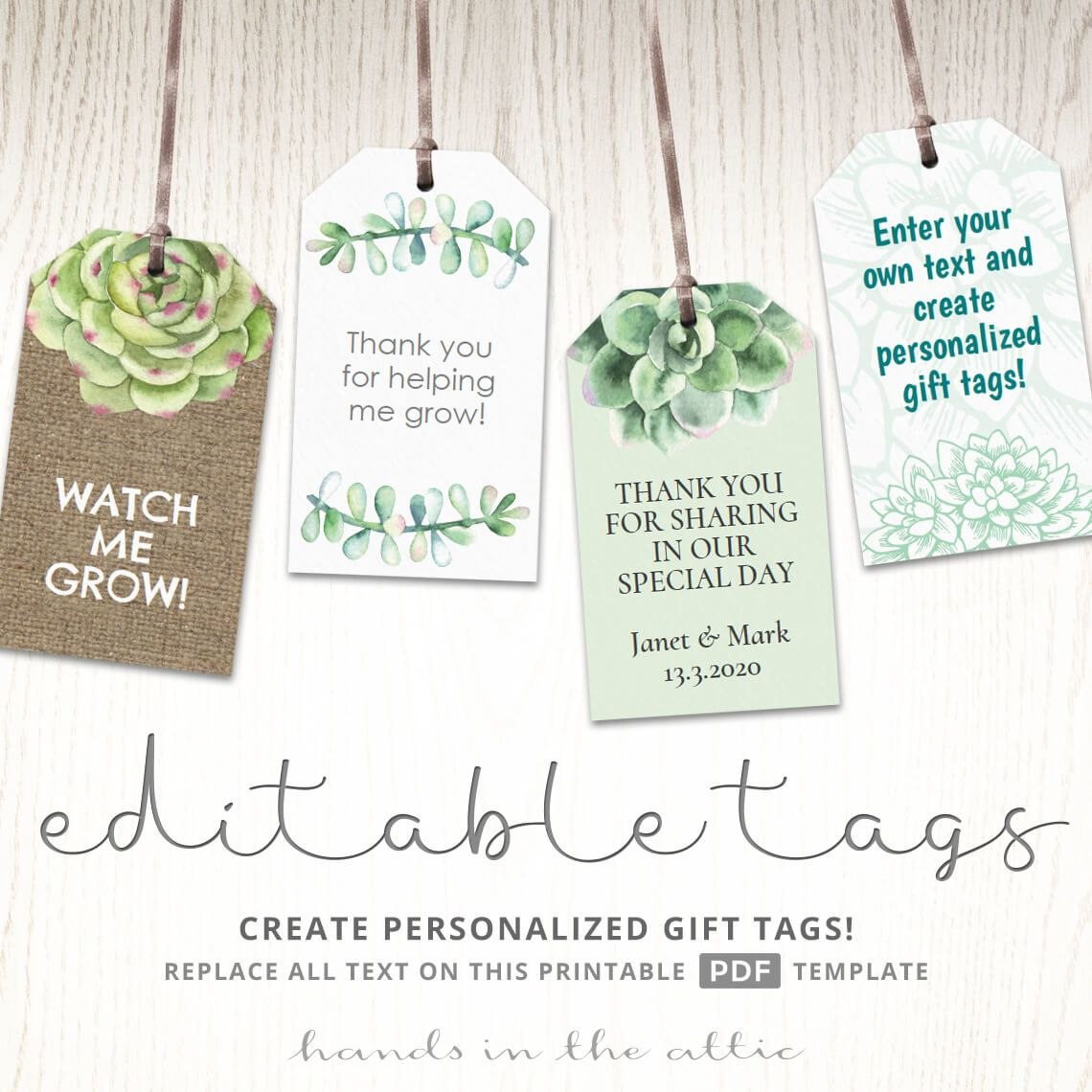 Succulent Gift Tags  Plants And Cactus Labels  Party Gift  Favor Regarding Baby Shower Label Template For Favors