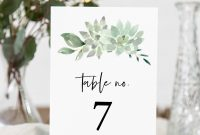 Succulent Table Number Card Template Printable Greenery Wedding regarding Table Number Cards Template