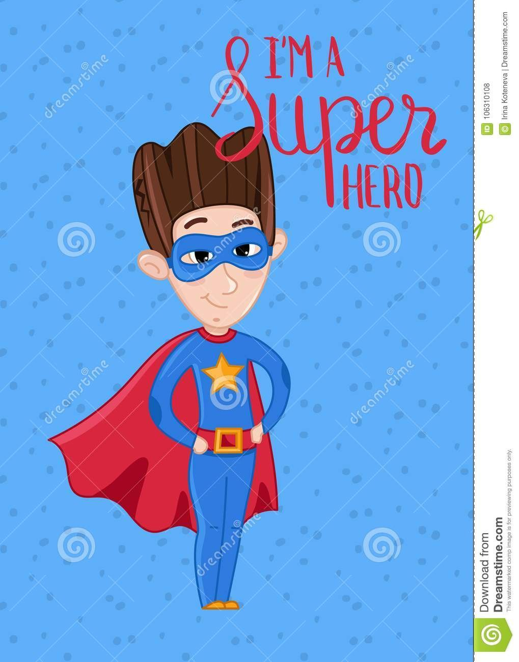 Super Hero Kids Postcard Template Stock Vector  Illustration Of Intended For Superman Birthday Card Template
