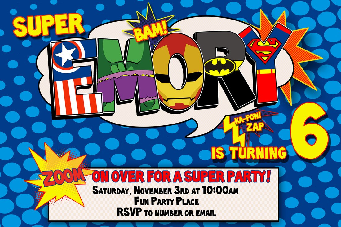 Superhero Birthday Invitations  Template Business With Superhero Birthday Card Template