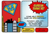 Superhero Birthday Invitations Templates Free Wording Cute for Superhero Birthday Card Template