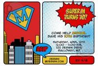 Superhero Birthday Invitations Templates Free Wording Cute within Superman Birthday Card Template