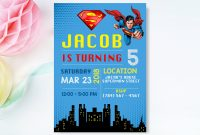 Superman Invitation Superman Invite Superman Birthday  Etsy pertaining to Superman Birthday Card Template