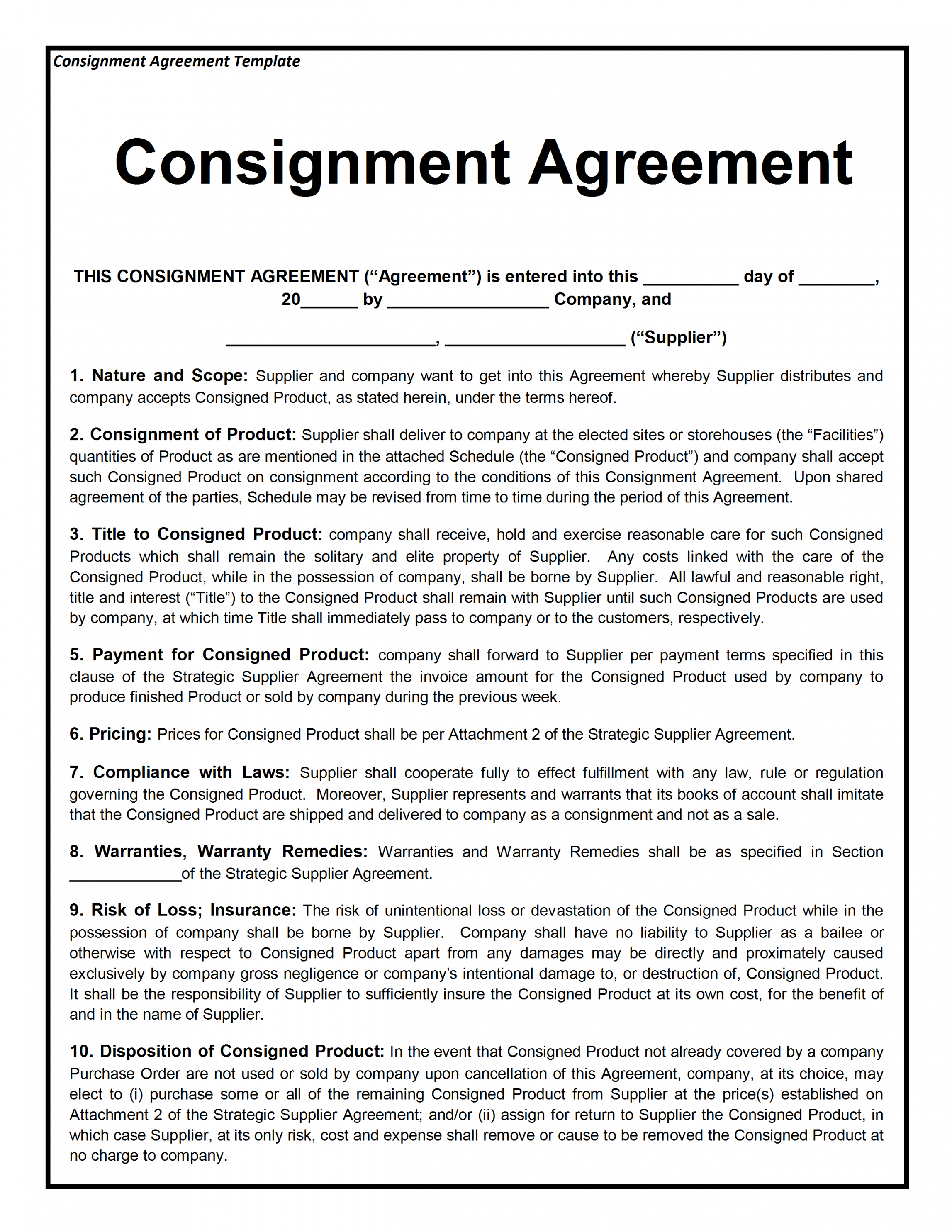 Supplier Warranty Agreement Sample Throughout Product Warranty Agreement Template