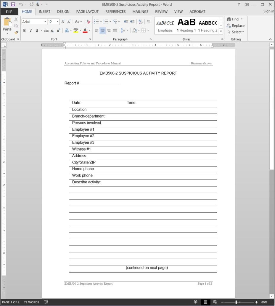 Suspicious Activity Report Template Pertaining To It Audit Report Template Word