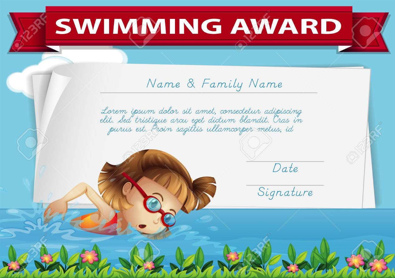 Swimming Award Certificate Template Illustration Royalty Free With Swimming Award Certificate Template