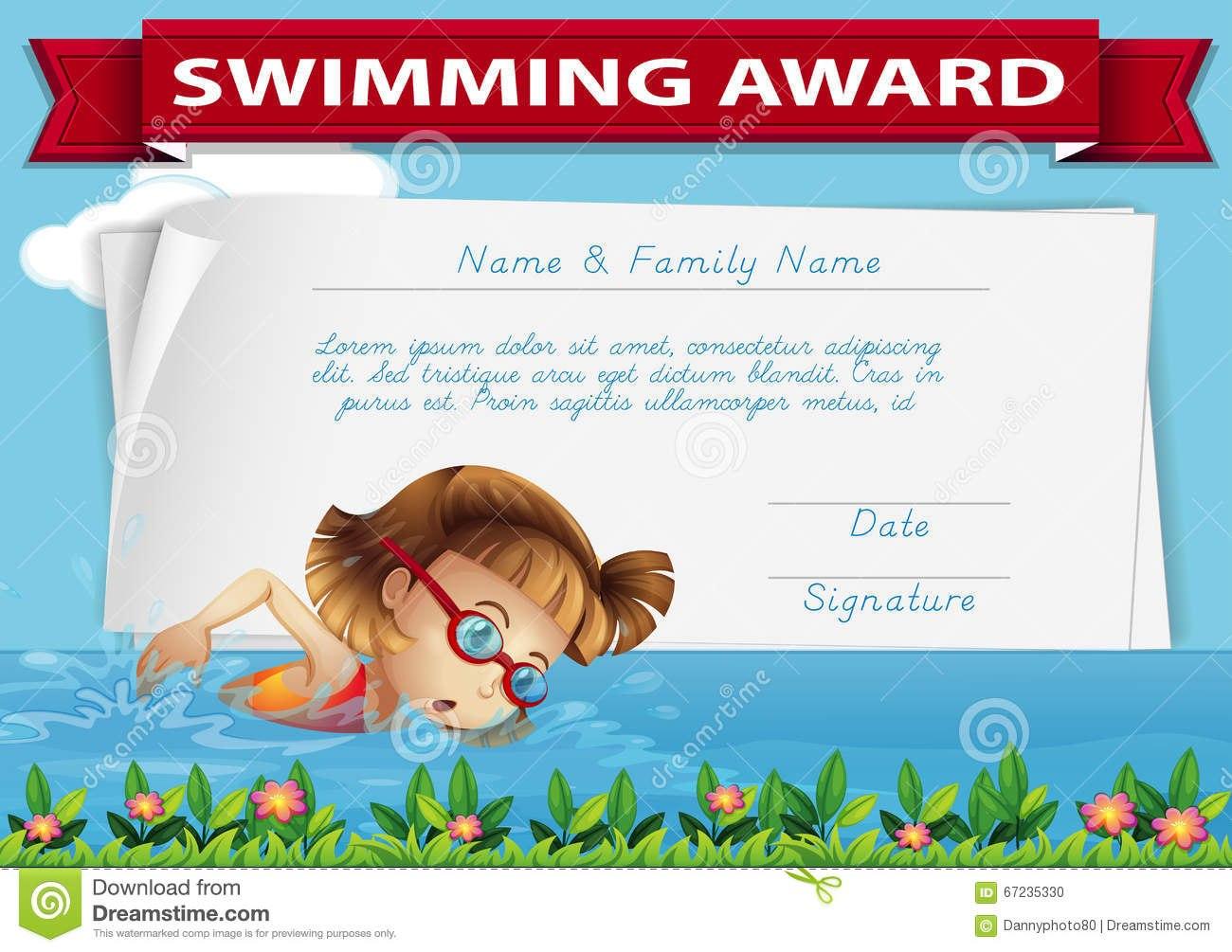 Swimming Award Certificate Template Stock Illustration Inside Free Swimming Certificate Templates