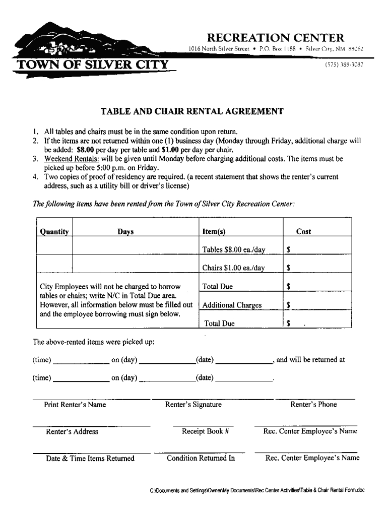 Table And Chair Rental Agreement Template  Fill Online Printable Regarding Table And Chair Rental Agreement Template