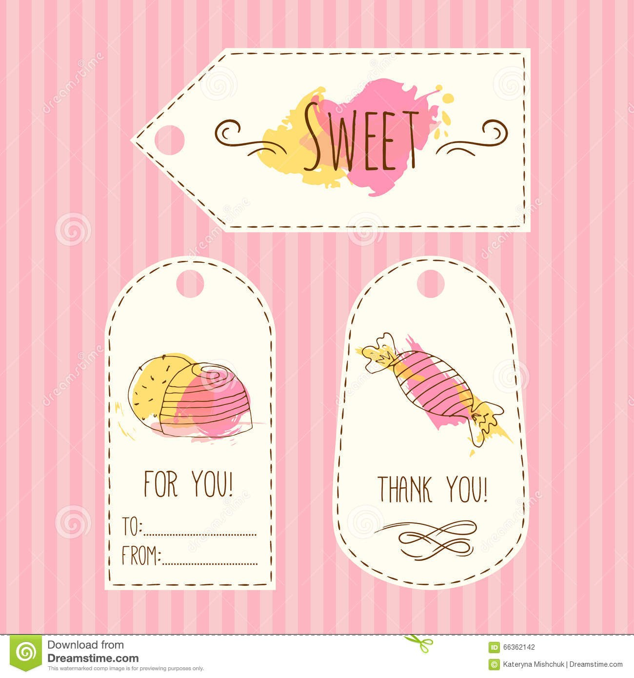 Tags With Candy Illustration Vector Hand Drawn Labels Set With Throughout Sweet Labels Template