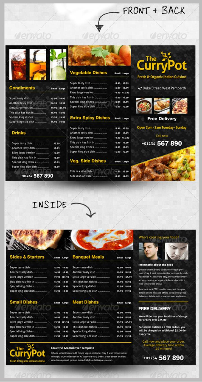 Takeaway Menu Designs  Psd Ai  Free  Premium Templates For Takeaway Menu Template Free