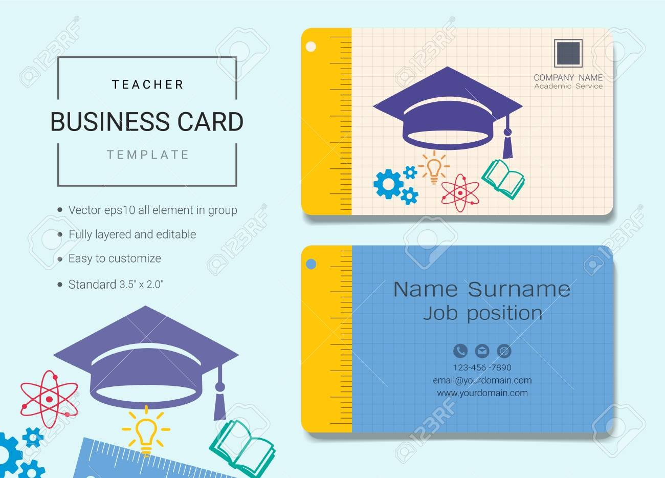 Teacher Business Card Or Name Card Template Simple Style Also Within Business Cards For Teachers Templates Free