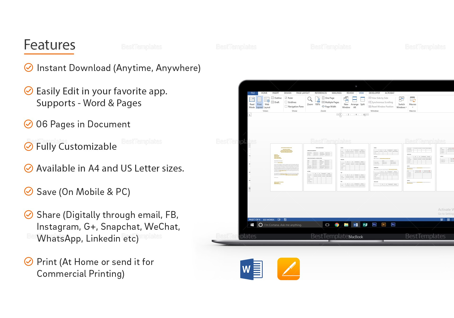 Technical Service Report Template In Word Apple Pages Regarding Technical Service Report Template