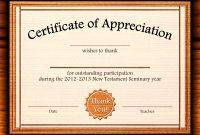Template Editable Certificate Of Appreciation Template Free with regard to Certificate Of Participation Word Template