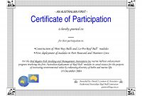 Template For Certificate Of Participation  Sansurabionetassociats throughout Sample Certificate Of Participation Template