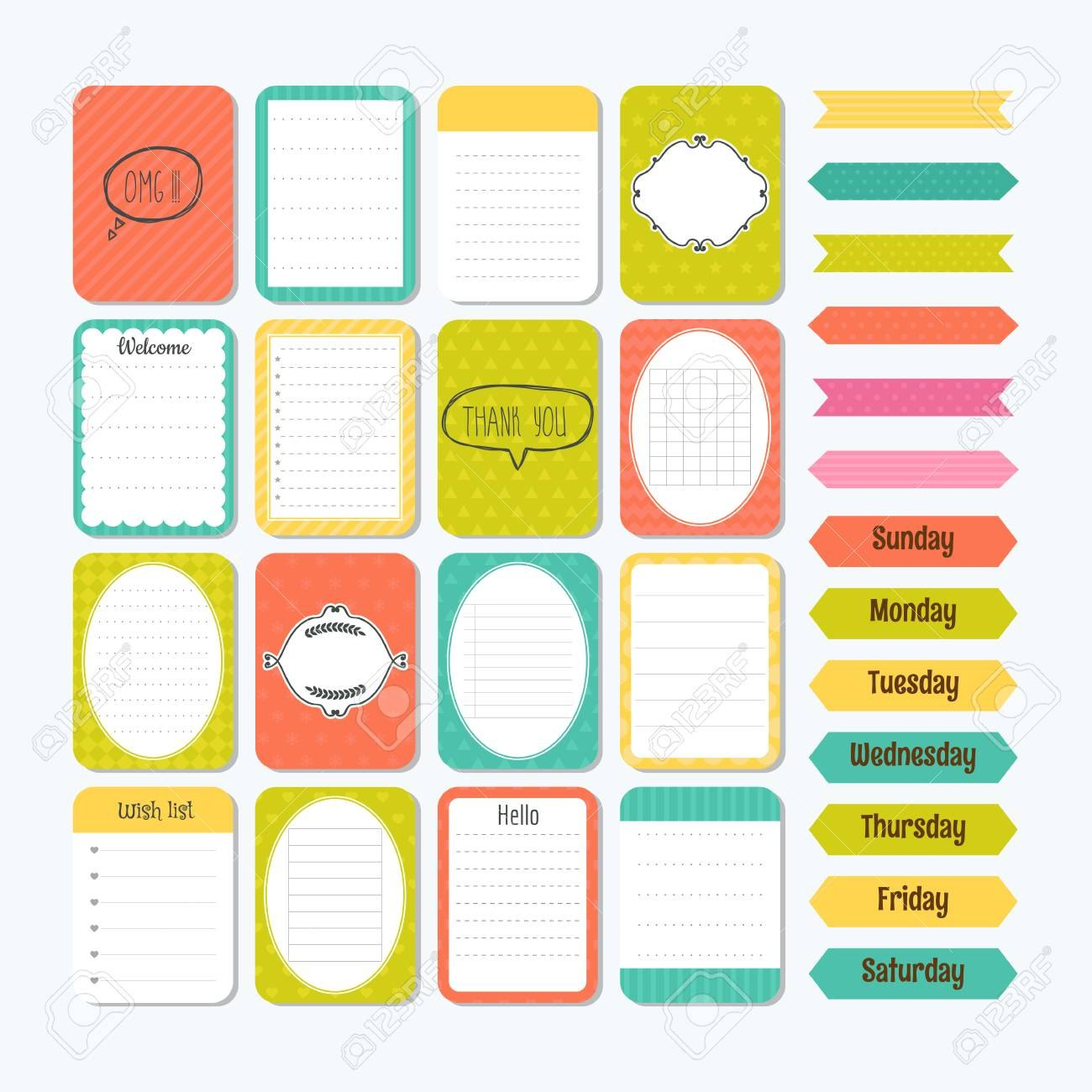 Template For Notebooks Cute Design Elements In Flat Style Notes In Notebook Label Template