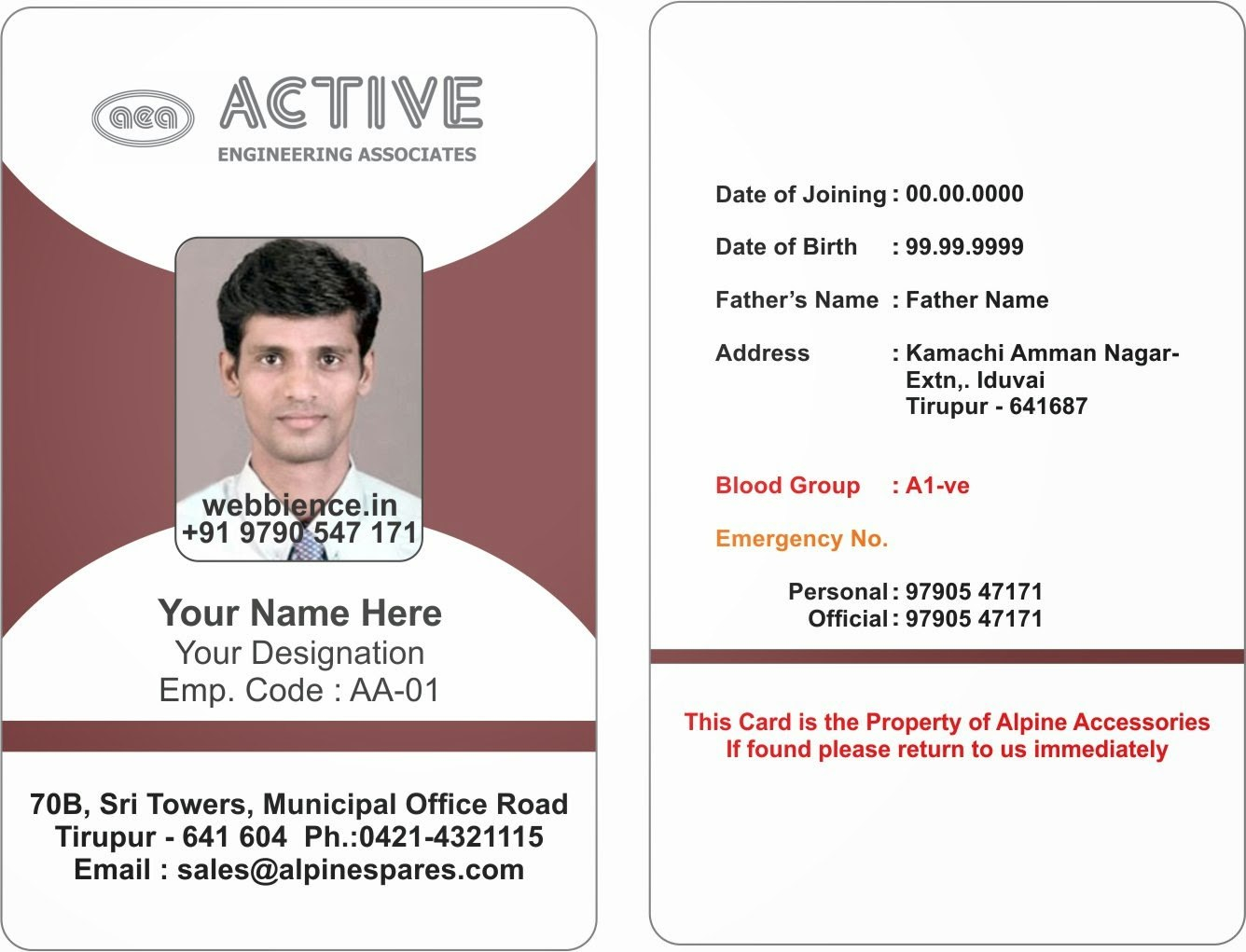 Template Galleries Employee Id Card Templatres  New  C For Work Id Card Template