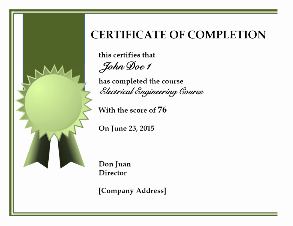 Template Ideas Certificate Of Completion Pdf For Lovely Pletion Intended For Certificate Of Completion Free Template Word