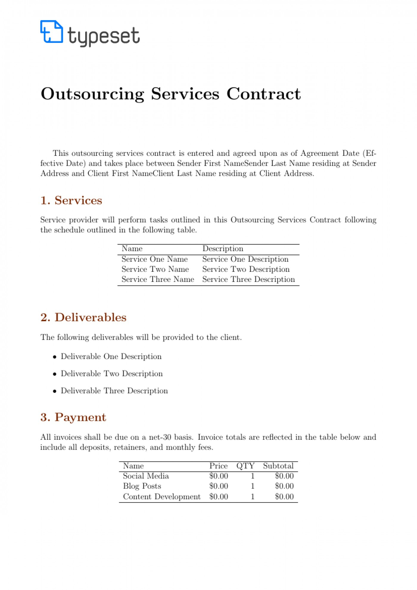 Template Ideas Contract For Unusual Services Self Employed Free Intended For Outsourcing Contract Templates