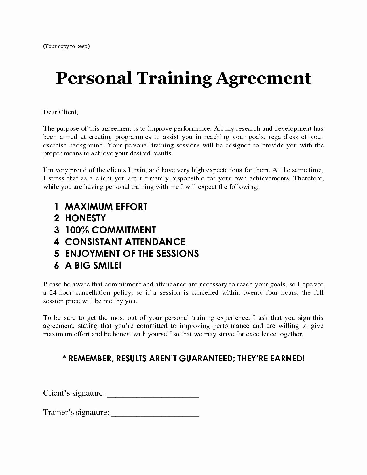 Template Ideas Download Client Agreement Form Personal Training With Personal Training Cancellation Policy Template