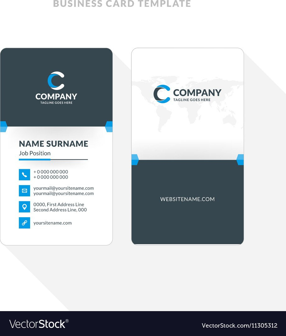 Template Ideas Vertical Double Sided Business Card Blue Vector Pertaining To Double Sided Business Card Template Illustrator
