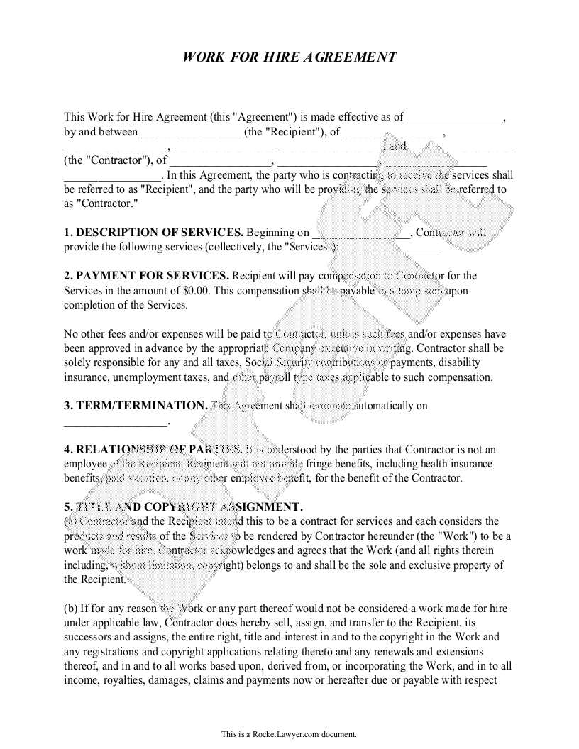 Template Ideas Work For Hire Agreement Magnificent Free Rent Pertaining To Work Made For Hire Agreement Template