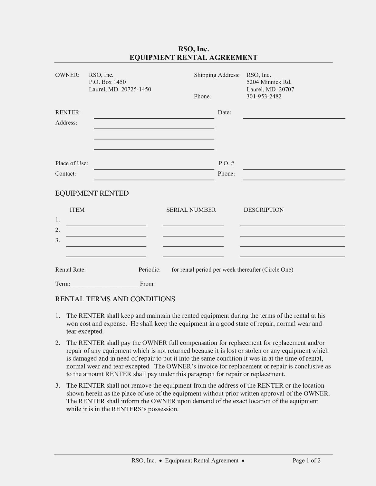 Ten New Thoughts About Equipment Rental  Form Information In Camera Equipment Rental Agreement Template