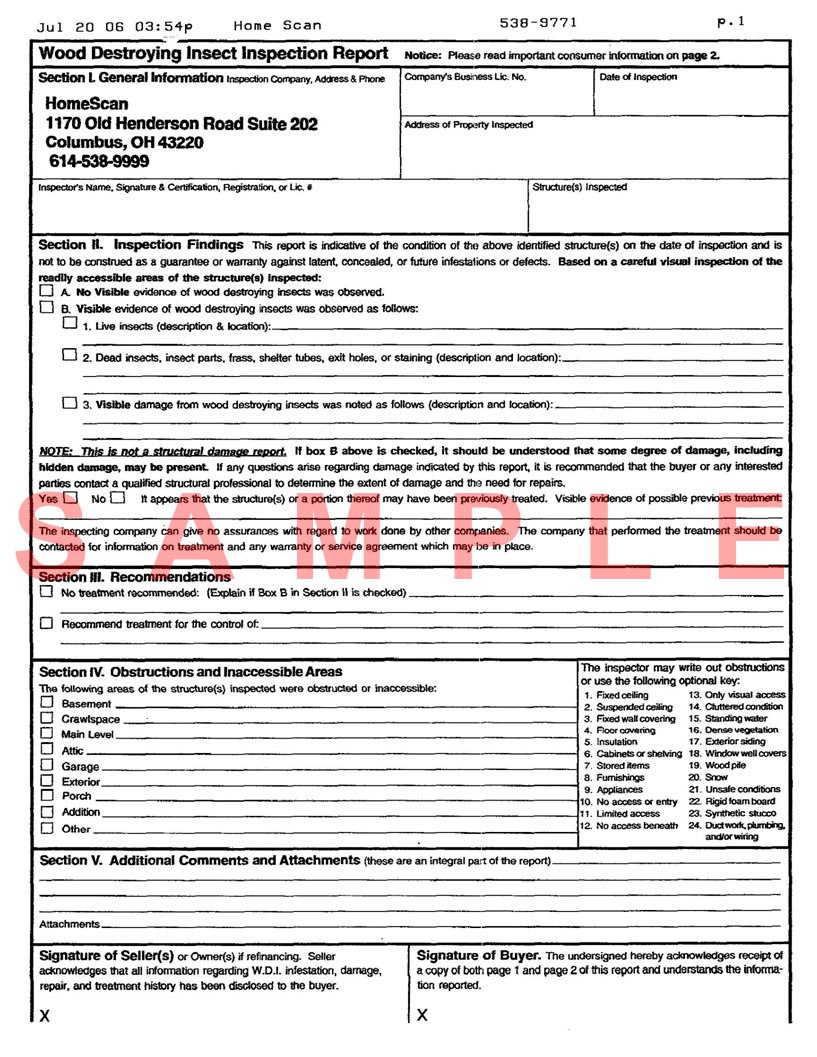 Termite Inspection Sample Termite Inspection Report Inside Pest Control Inspection Report Template